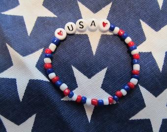 USA Stretch Beaded Bracelet-Birthday Gift-USA Bracelet-Girls bracelet-Kids bracelet-Gifts for her-Gifts for girls