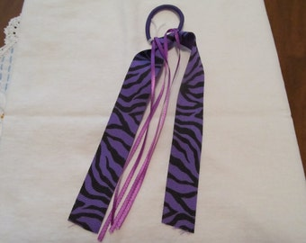 Purple Zebra Print Ribbon Ponytail Holder, Hair Tie, Birthday Gifts, Gifts for her,Gifts for girls,Hair Accessories,Hair Tie,Gifts for teens