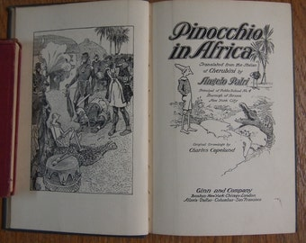 """Vintage Book: """"Pinocchio in Africa"""", 1911"""