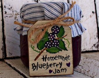 Homemade Blueberry Jam Label Wood Canning Jar Label Rustic Tag Blueberry Kitchen Decor