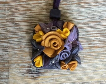 Polymer clay necklace - Mauve dream
