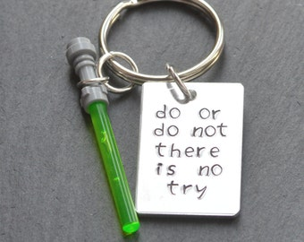 Do Or Do Not, Star Wars, Star Wars Keychain, Yoda Keyring, Star Wars Gift, Yoda Quote, There Is No Try, Star Wars Quote, The Force Awakens