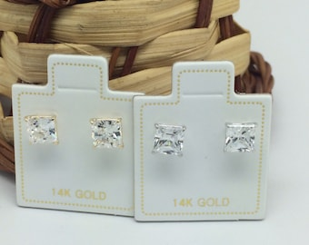 14K Yellow or White Gold Princess Cut CZ Stud Earrings Available from 4mm to 7mm
