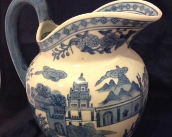 Large Vintage Chinoiserie Pitcher Vase