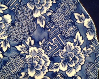 Decorative Blue and White Raised Plate