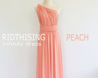 Maxi Peach Bridesmaid Dress Infinity Dress Bridesmaid Dress Prom Dress Convertible Dress Wrap Dress