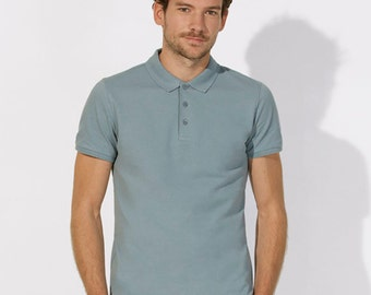 POLO 100% Organic cotton  short sleeve Blue