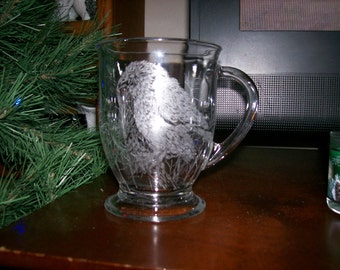 Mug, Glass Etching, Original Signed by Russel L Goss, Of Two Birds ( Young Eagles) on Branches