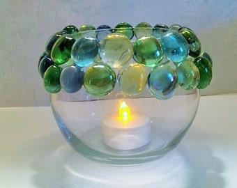 Round Glass Candleholder, Votive Candleholder, Glass Candleholder, Candle Jar, Glass Bowl Candleholder, Round Glass Vase, Candle Accessory