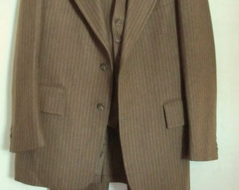Marked Down 50%@@A Vintage 70's,STYLIN' 3pc,PIMPIN' Pinstriped Brown Wool PENTHOUSE Suit.40L (34x33)