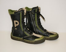 Black Green Leather  Lace-up boots Ankle Boots Womens PRIMIGI Junior Boots Black Green Ankle Lace Zip Genuine Leather Boot US 4.5-5 /  EU 36