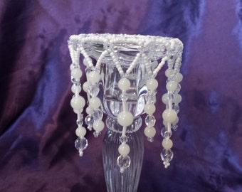 Cream Beaded Candelabra Decoration
