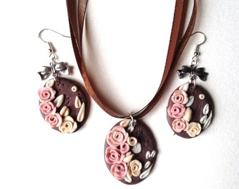 polymer clay, finery, flowery, roses, floral during