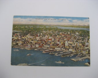 Vintage Linen Postcard  Seattle Postcard Paper Ephemera Aeroplane View Of Seattle Postcard  Seattle Washington Postcard  Used Vintage