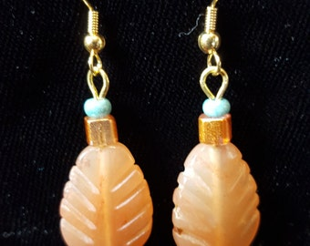 Stone Feather Dangle Earrings