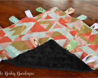 Pink/Coral/Blue/Gold Tribal Security/Taggie Blanket