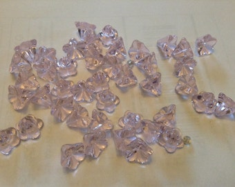 Pink glass flower beads