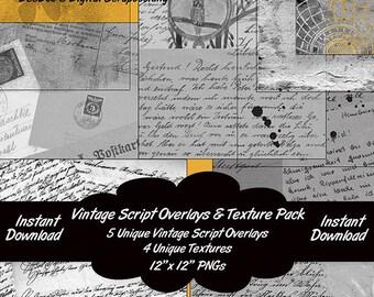 Digital Vintage Script 12x12 Overlays and Textures – 9 PNGs - Photography - Scrapbooking - DeeDoosDigitalScrap - INSTANT DOWNLOAD