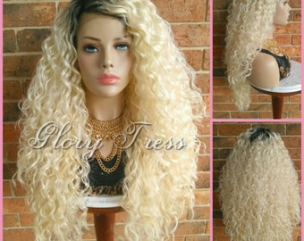 ON SALE // Long Beach Curly Lace Front Wig, Ombre Platinum Blonde Wig, Big Curly Hairstyle // DREAM2 (Free Shipping)