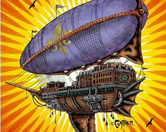 11 x 17 print, Forecastle, air, ship, balloon, boat, bird,  Louisville, Jeff, Gaither,  autographed, signed, giclee,