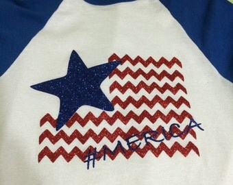 Baseball Sleeve shirt with 4th of July message #Merica Flag Shirt