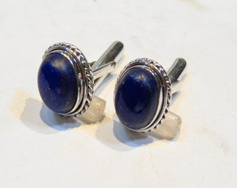 Marvelous Lapis Lazuli Sterling Silver 925 Handmade Cufflinks Mens Jewellery Blue by AmoreJewels