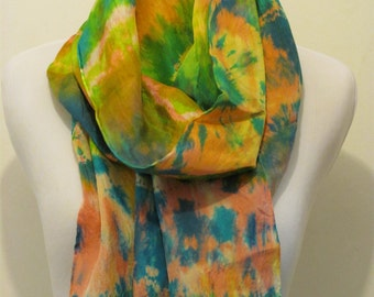 14x72 Silk Scarf dyed Pink/Orange, Tie Dyed/Overdyed in Blues and Greens