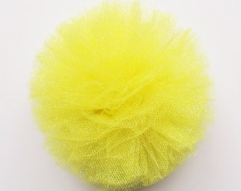 Girls Hair Barrettes - Yellow Tulle Hair Clips