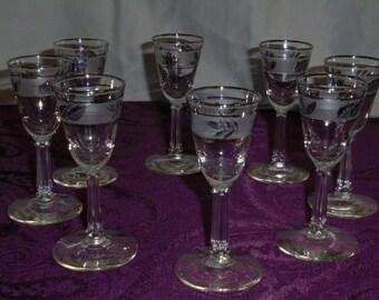 8 Silverleaf Cordial/Shot Glasses.