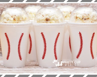 Set of 8, 10 or 12 -Baseball Party-Baseball Party Cups-Popcorn Cups