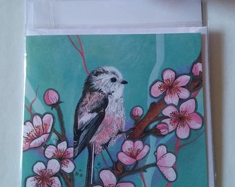 Long tailed tit blank greetings card.