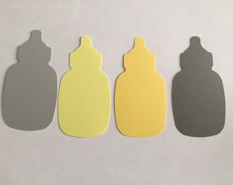 25 Assorted Yellow Grey Baby Bottle Tags, Die Cut Bottle, Shower Decorations, Baby Gift Tags, Advice Tree Tags, Favor Tags, Baby Shower game