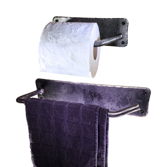 Hand Towel And Toilet Paper Holder Combo Hand Forged