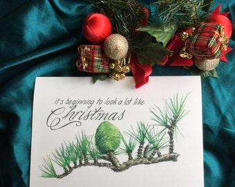 Christmas card - pinecone