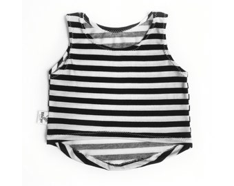 Black and white stripped hi-low tank