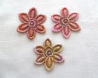 Hand dyed Flower Applique Six Petal Venise Lace 6007D