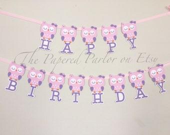 Handmade Owl Birthday Banner / Unique Owl Birthday Banner / Vintage Owl Birthday Banner / Happy Birthday Party