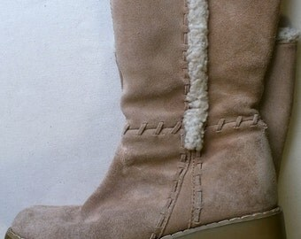 xhilaration suede tan leather mid-calf boots women size 7.5 M