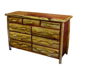 Rustic Red Cedar Log 9 Drawer Dresser - Amish Made in USA - Model# WWR02-017RC - Free Shipping!