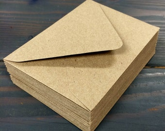 50 Kraft Brown Recycled - Euro (Pointed) Flap Envelopes - A7, A2, A1
