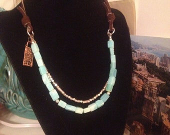 Double Strand Necklace Silver Peruvian Blue Opal Leather