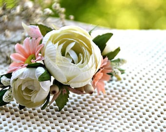 Silk and Artificial Flowers Headpiece