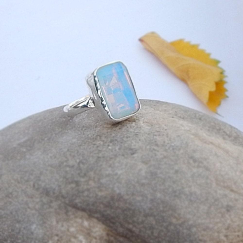 Opal Ring Cushion Cut Blue Opaline Gemstone 925 Sterling