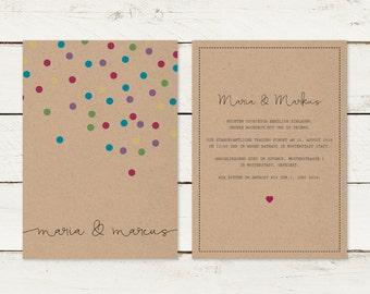 Wedding invitation | Kraft paper | Confetti