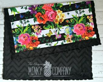 Baby Blanket - Vintage Flower - Designer Minky - Black