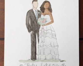 Custom Wedding Watercolor Portrait