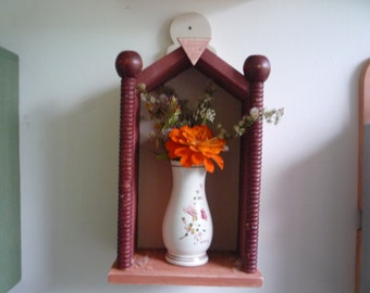 tiny altar, old turned wooden post, shadow box, display shelf
