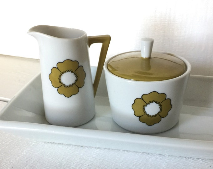 Mid Century Modern Sugar and Creamer Set, Green and White Lidded Sugar Bowl and Creamer, Ceramic Creamer Set