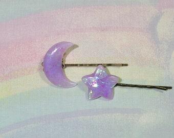 Moon Hair Clip, Lolita Hair Accessories, Moon and Star Hair Clip, Whimsical Hair Clip, Iridescent Hair Clip, Cult Party kei