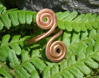 Celtic handmade spirals copper ring